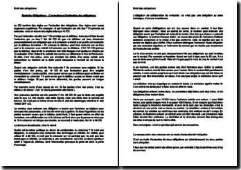 L'exécution et l'extinction des obligations en Droit des Obligations suisse
