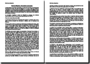 La prescription et la péremption en Droit des obligations (Suisse)