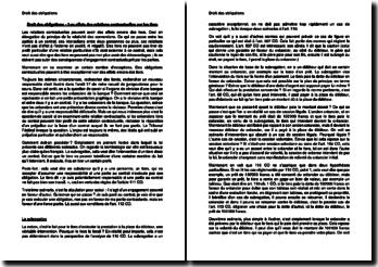 Les effets des relations contractuelles sur les tiers en Droit des obligations suisse