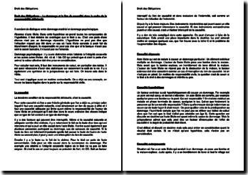 Le dommage et le lien de causalité dans le cadre de la responsabilité délictuelle (Suisse)