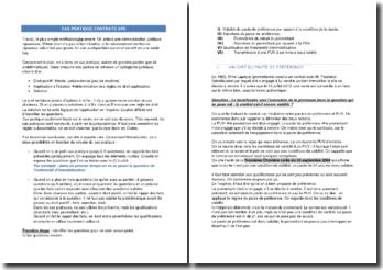 Cas pratiques de contrats SPE (spéciaux)