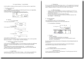 Les composés lipidiques - Les glycérolipides
