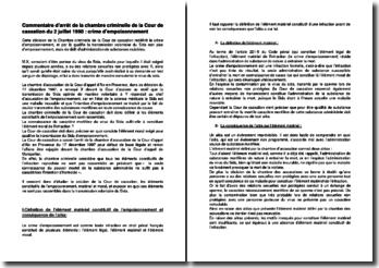Commentaire d'arrêt de la chambre criminelle de la Cour de cassation du 2 juillet 1998 : crime d'empoisonnement