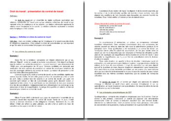 Droit du travail : présentation du contrat de travail