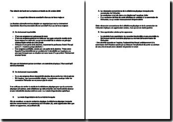 Plan détaillé de l'arrêt de la chambre criminelle du 28 octobre 2009