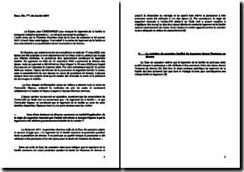 Commentaire d'arrêt de la Première Chambre civile de la Cour de cassation du 26 janvier 2011 : la qualification du logement familial durant la procédure de divorce