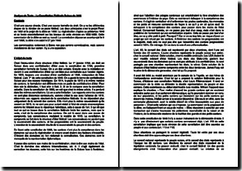 La Constitution Fédérale Suisse de 1848