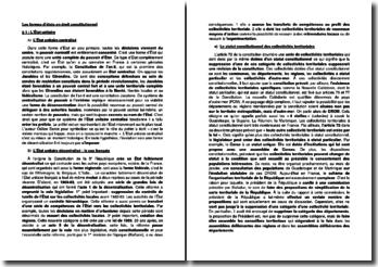 Les formes d'Etats en droit constitutionnel
