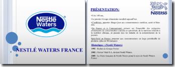 Présentation de la stratégie de Nestlé Waters France
