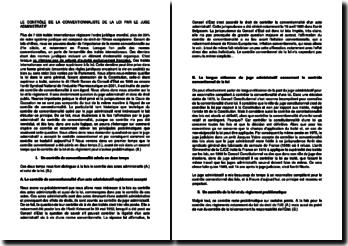 Le contrôle de la conventionnalité de la loi par le juge administratif