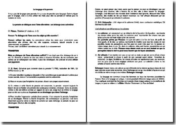Le langage et la pensée (plan de dissertation)