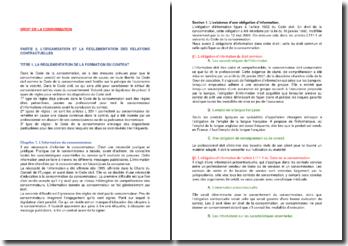 L'organisation et la réglementation des relations contractuelles