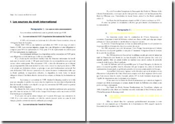 Les sources professionnelles et internationales du droit du travail