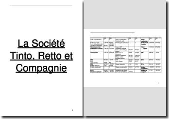 Audit pour la Société Tinto, Retto et Compagnie
