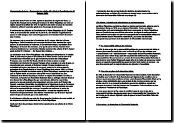 Commentaire des articles 48 à 51 de la Constitution du 27 Octobre 1946