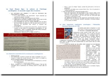 Le Haut Moyen Âge : la culture et l'héritage carolingiens ; la seconde vague des invasions