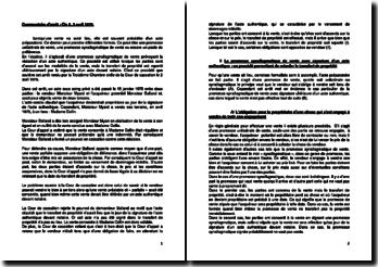 Commentaire d'arrêt de la Troisième Chambre civile de la Cour de cassation du 2 avril 1979 : la promesse synallagmatique de vente avec signature d'un acte authentique