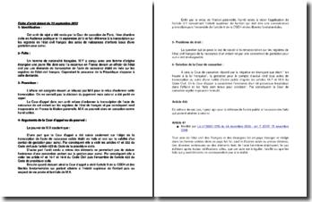 Fiche d'arrêt de la 1ère Chambre civile de la Cour de cassation du 13 septembre 2013 : l'état civil français des actes de naissances d'enfants issus d'une gestation pour autrui
