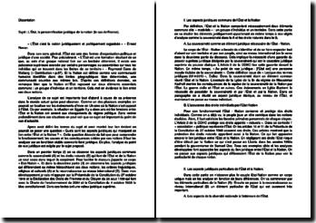 L'État c'est la nation juridiquement et politiquement organisée - Ernest Renan