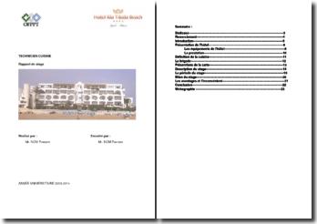 Rapport de stage en tant que technicien cuisine à l'hôtel Riu Tikida Beach d'Agadir au Maroc