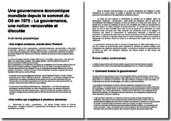 Une gouvernance économique mondiale depuis le sommet du G6 en 1975 : la gouvernance, une notion renouvelée et discutée