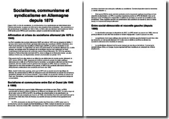 Socialisme, communisme et syndicalisme en Allemagne depuis 1875