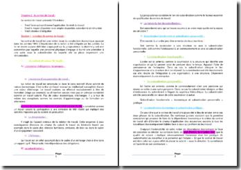 La notion de contrat de travail et la typologie des contrats de travail