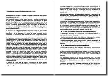 Commentaire d'arrêt de la Chambre commerciale de la Cour de cassation du 6 mars 2011 : la qualification en contrat de louage et de vente