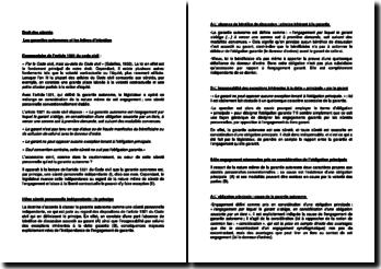 Commentaire de l'article 1321 du Code civil : les garanties autonomes et les lettres d'intention