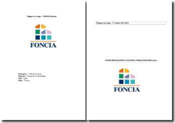 Rapport de stage dans l'entreprise FONCIA Bastard en qualité de négotiatrice location