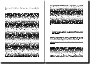 Commentaire de l'arrêt du Conseil d'État du 28 juillet 2000 : France Nature Environnement