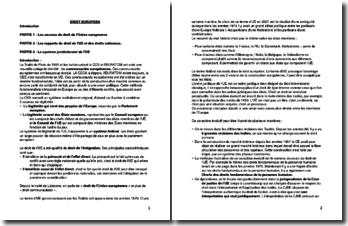 Droit de l'Union Européenne : ses sources, ses rapports avec les droits nationaux et son système juridictionnel