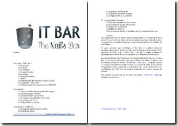 IT Bar the nails' bar - étude marketing complète pour un bar à ongles