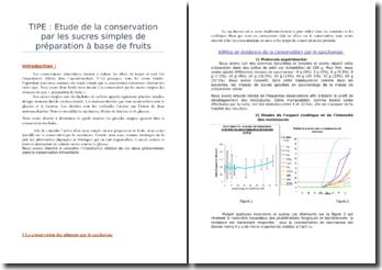 Etude de la conservation par les sucres simples de préparation à base de fruits