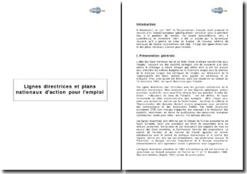 Lignes directrices et plans nationaux d'action pour l'emploi
