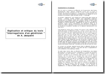 Explication et critique du texte 'interrogations d'un généticien ' de A. Jacquard