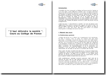 ' Il faut défendre la société '. Cours au Collège de France. Michel Foucault