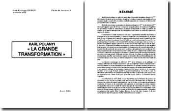 Karl Polanyi : La Grande Transformation