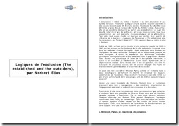 Logiques de l'exclusion (The established and the outsiders), par Norbert Elias