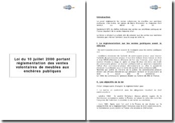 Loi du 10 juillet 2000 portant réglementation des ventes volontaires de meubles aux enchères publiques