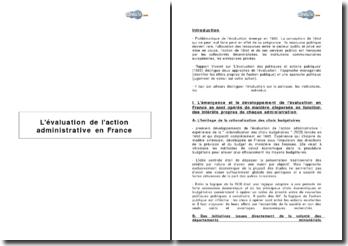 L'évaluation de l'action administrative en France