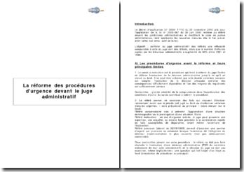 La réforme des procédures d'urgence devant le juge administratif