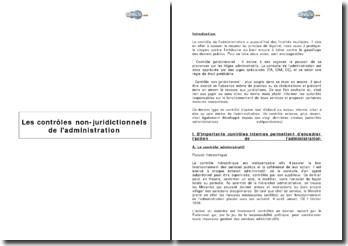 Les contrôles non-juridictionnels de l'administration