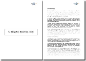 La délégation de service public (2001)