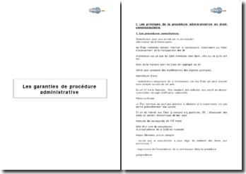 Les garanties de procédure administrative