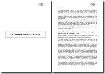 Note sur le Conseil Constitutionnel