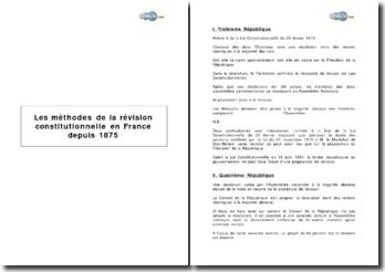 Les méthodes de la révision constitutionnelle en France depuis 1875