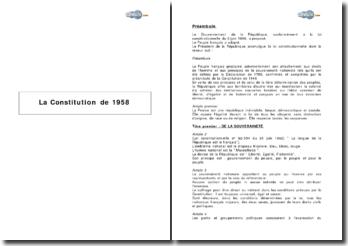 La Constitution de 1958