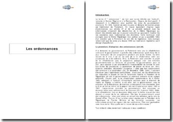 La procédure d'adoption des ordonnances (art.38) et les autres ordonnances (art. 47 et 92)