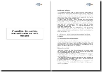 L'insertion des normes internationales en droit français